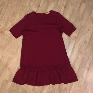 Deep red burgundy dress with ruffle hem